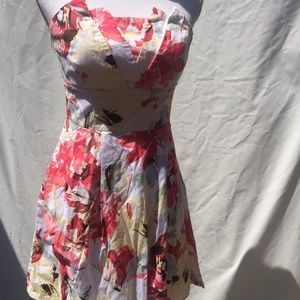 Maurices Strapless Dress Sz 5/6 Floral Lined Mini